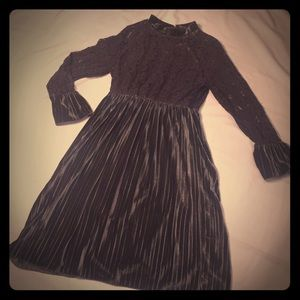 Vintage looking grey lace and velour dress.
